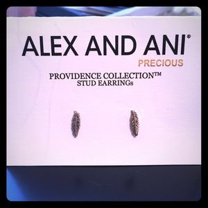 NWT ALEX AND ANI Feather Stud Earrings